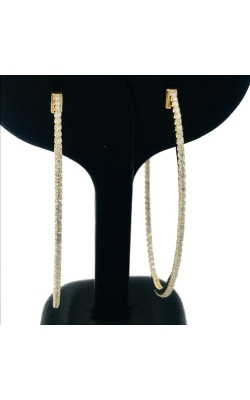 14k YG Diamond Oval Hoops product image