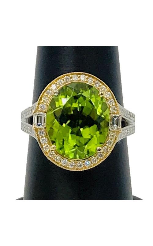 19k WG & 18k YG Peridot and Diamond Ring product image