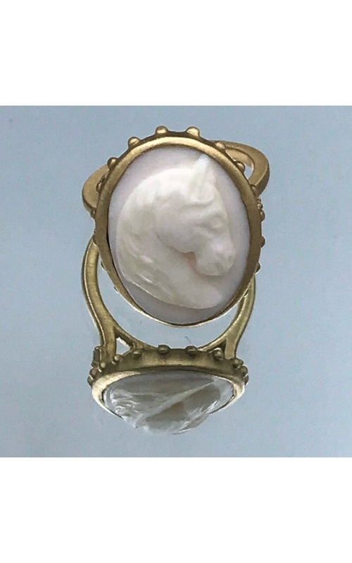 14k YG 8.79 ctw Horse Cameo Shell Ring product image
