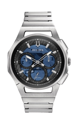 Bulova CURV Men's Black and Blue Quartz 96A205