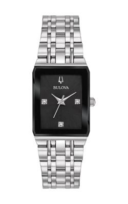 Bulova Quadra Women's Black Rectangular Watch 96P202 product image