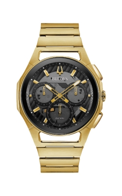 Bulova CURV Men's Gold Tone Black Chronograph Watch 97A144