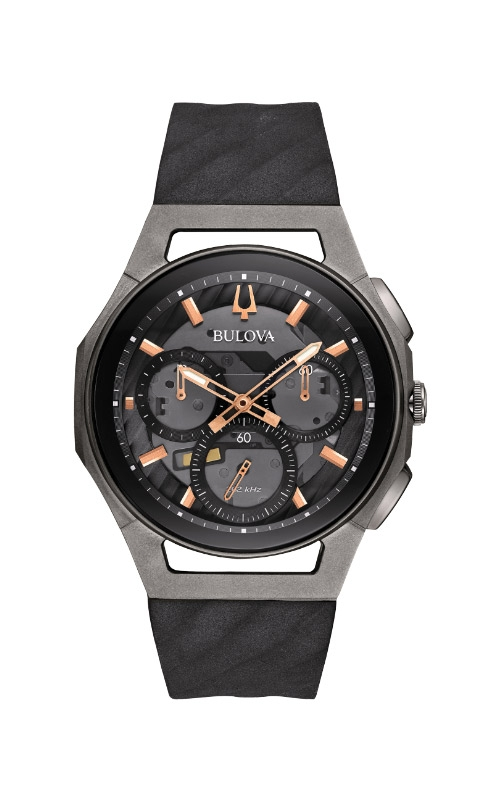 Bulova Curv Men's Black and Rose Gold Watch 98A162 product image