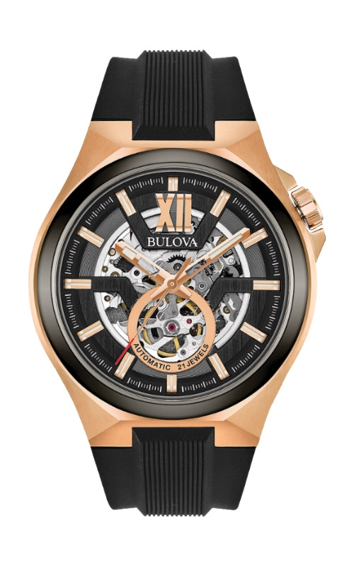 Bulova Maquina Men's Rose Gold Black Automatic Watch 98A177 product image