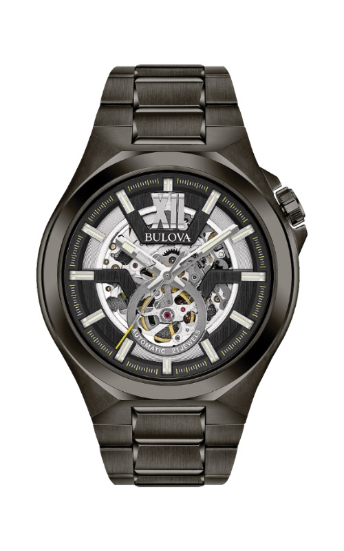 Bulova Men's Maquina Black Stainless Steel Watch 98A179 product image