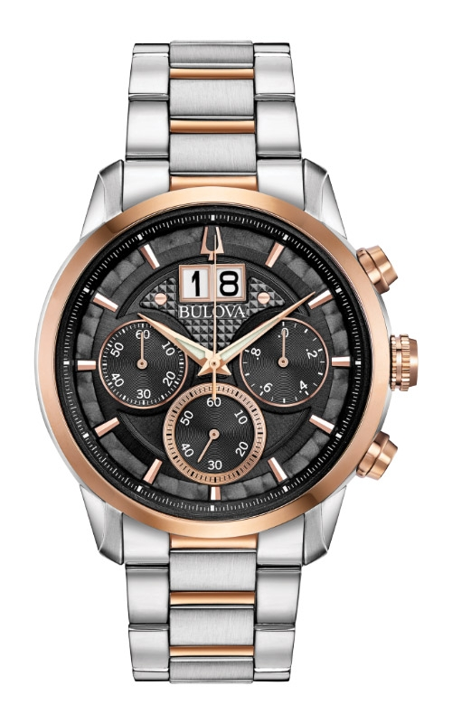 Bulova Sutton Men's Silver and Rose Gold Watch 98B335 product image