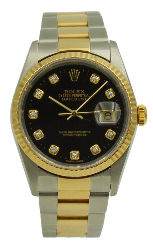 Pre-Owned Rolex DateJust 16233 Black & Diamond Dial product image