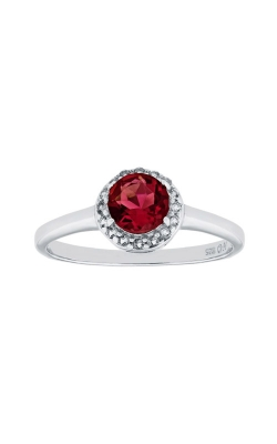 Sterling Silver Red And White Round Halo Ring Size 7 BI1107R1CR-SIL7 product image
