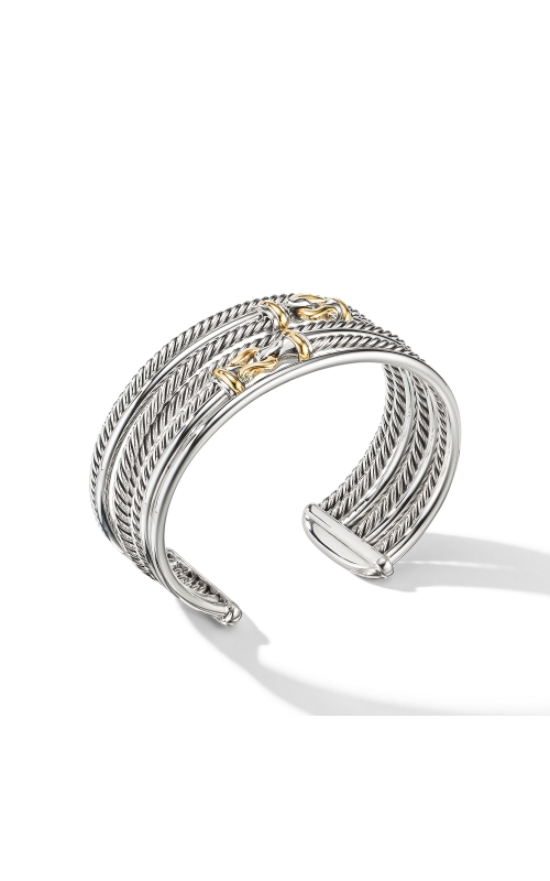 Buckle Crossover Cuff Bracelet with 18K Yellow Gold product image