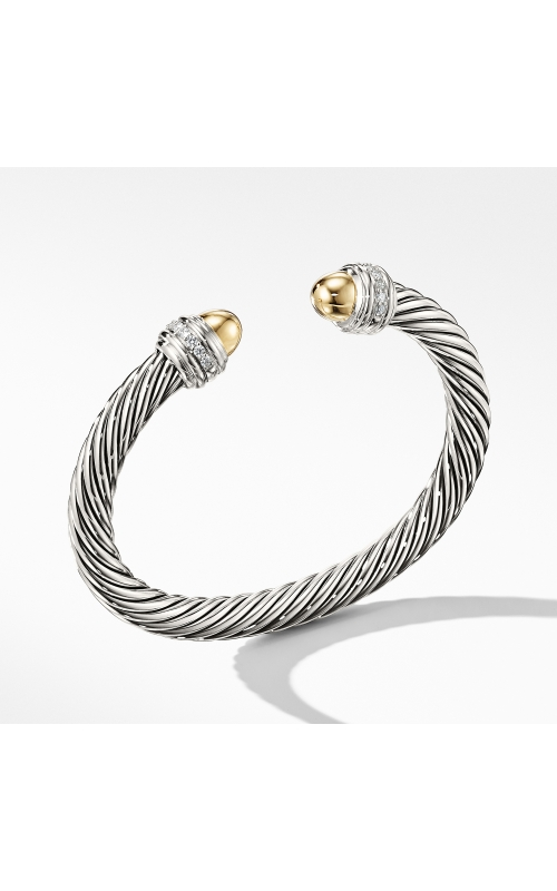 Cable Bracelet with Gold Dome and Diamonds product image