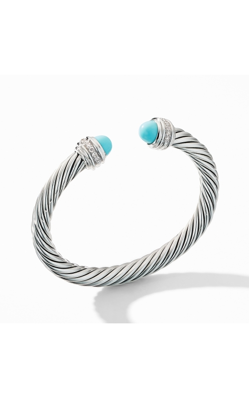 Cable Bracelet with Turquoise and Pavé Diamonds product image