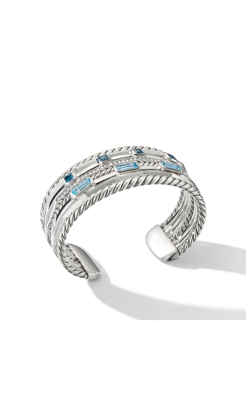 Stax Wide Cuff Bracelet with Blue Topaz and Diamonds product image