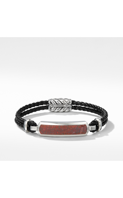 Exotic Stone Bar Station Leather Bracelet with Red Agate product image