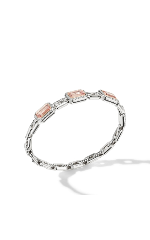 Novella Three Stone Bracelet with Morganite, Pavé Diamonds and 18K Rose Gold product image
