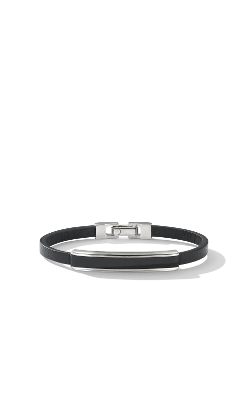 Deco Bar Station Bracelet in Black Leather with Black Onyx product image