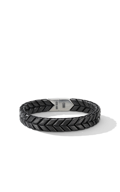 Chevron Wide Woven Bracelet in Black Titanium product image