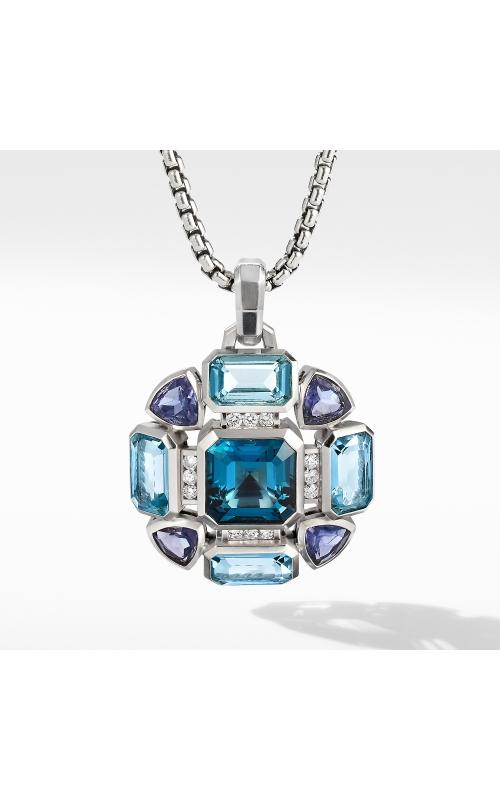 Novella Statement Pendant with Blue Topaz and Pavé Diamonds product image