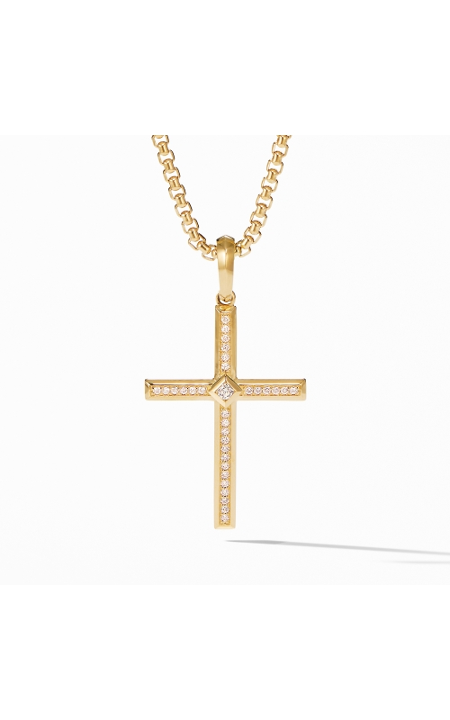 Modern Renaissance Cross Pendant in 18K Yellow Gold with Diamonds product image