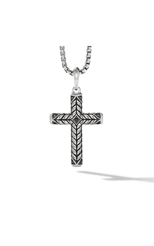 Chevron Sculpted Cross with Pavé Black Diamonds product image