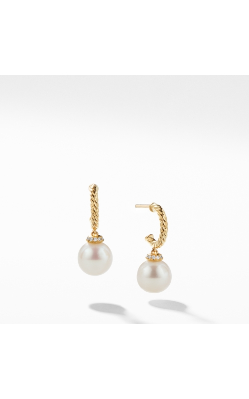Solari Hoop Earrings with Diamonds and Pearls in 18K Gold product image
