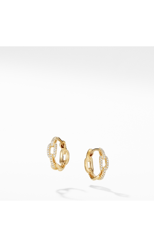 Stax Chain Link Huggie Hoop Earrings with Diamonds in 18K Gold product image