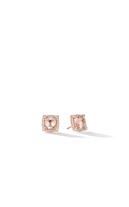 Chatelaine Pavé Bezel Stud Earrings in 18K Rose Gold with Morganite product image