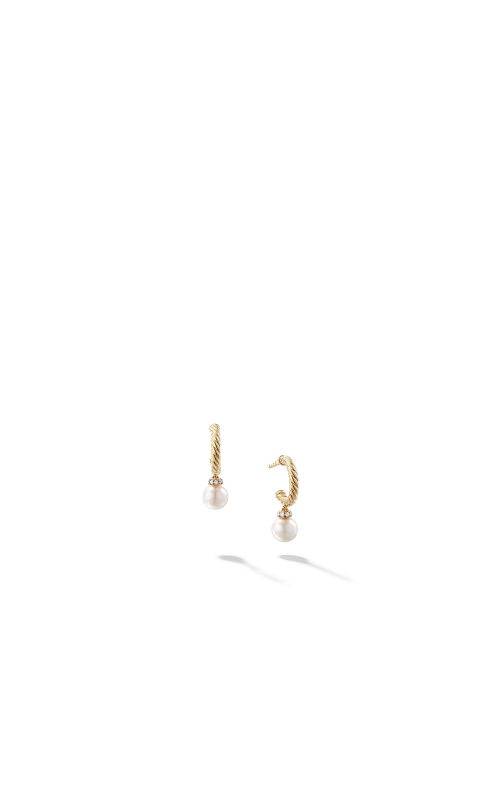 Solari Hoop Earrings with Cultured Pearl and Diamonds in 18K Gold product image