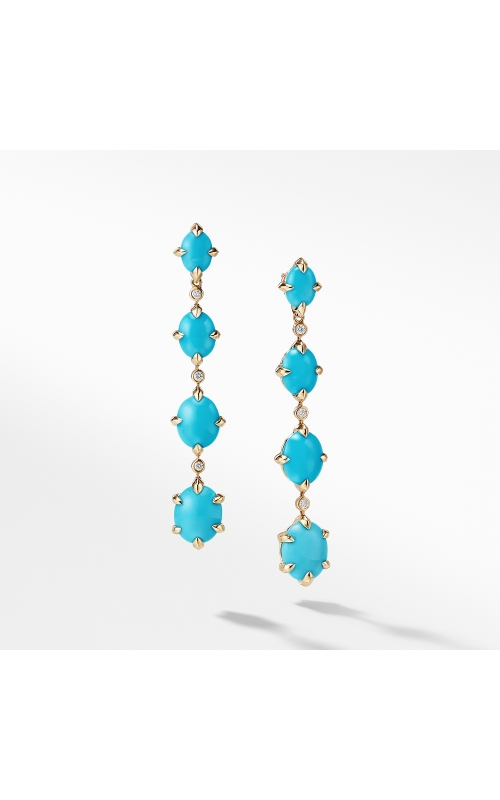 Chatelaine® Drop Earrings in 18K Gold with Turquoise and Diamonds product image