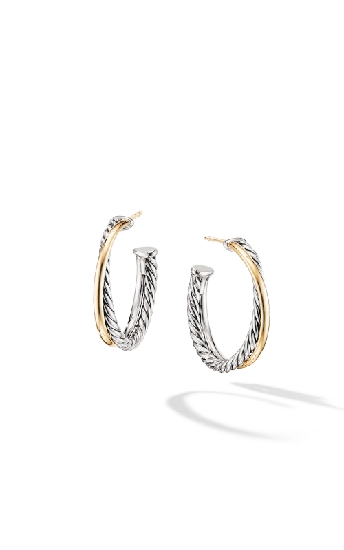 Crossover Medium Hoop Earrings with 18K Yellow Gold product image