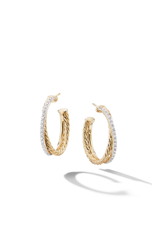 Crossover Medium Hoop Earrings in 18K Yellow Gold with Diamonds product image