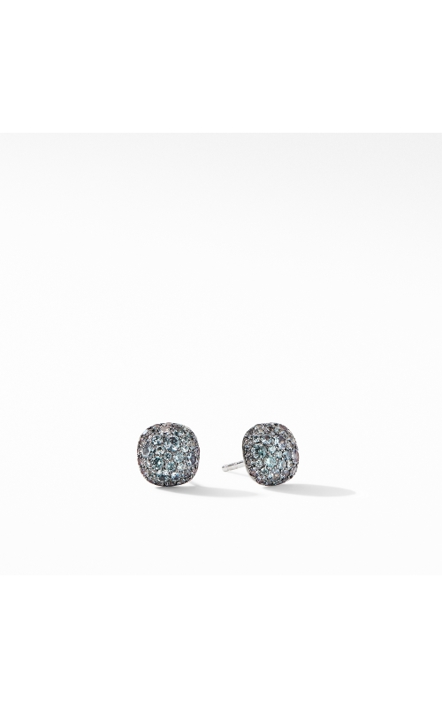 Cushion Stud Earrings in 18K White Gold with Pavé Color Change Garnet product image