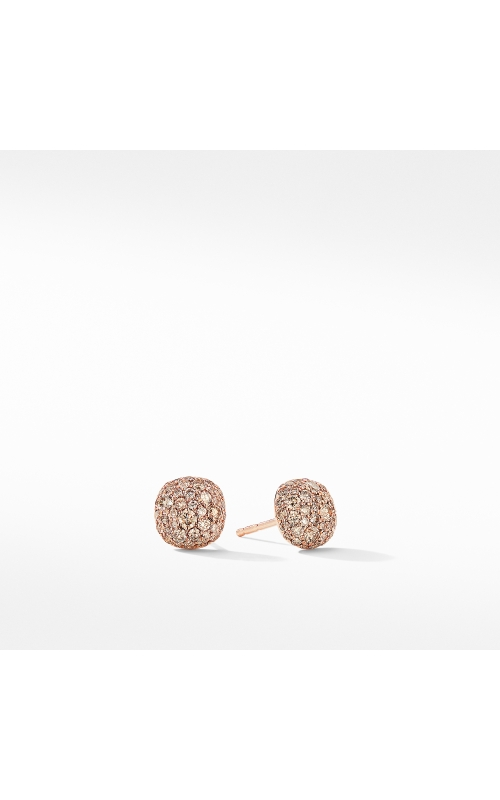 Small Cushion Stud Earrings in 18K Rose Gold with Pavé Cognac Diamonds product image