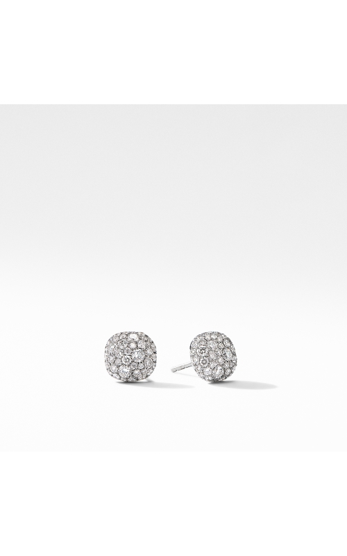 Small Cushion Stud Earrings in 18K White Gold with Pavé Diamonds product image