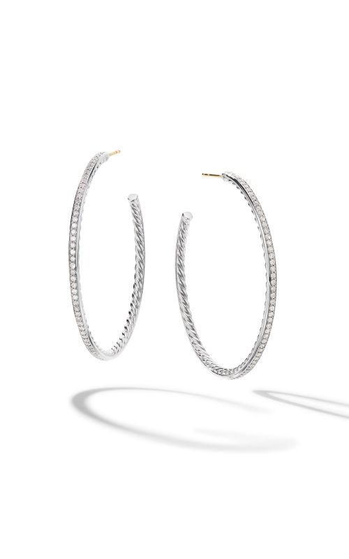 Large Hoop Earrings with Pavé Diamonds product image
