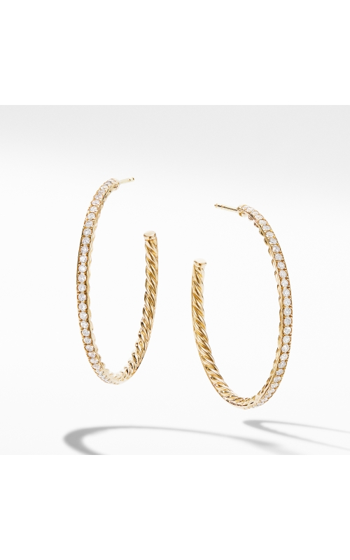 Medium Hoop Earrings in 18K Yellow Gold with Pavé Diamonds product image