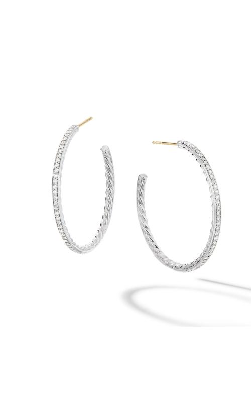 Medium Hoop Earrings with Pavé Diamonds product image