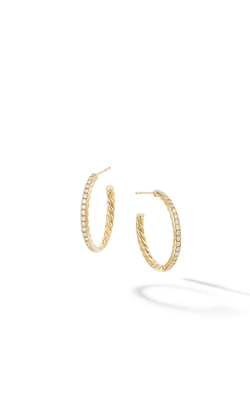 Small Hoop Earrings in 18K Yellow Gold with Pavé Diamonds product image