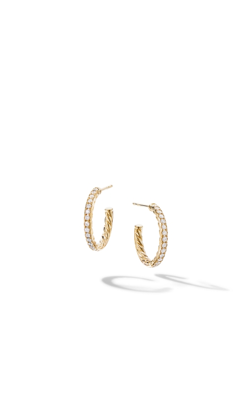 Extra-Small Hoop Earrings in 18K Yellow Gold with Pavé Diamonds product image