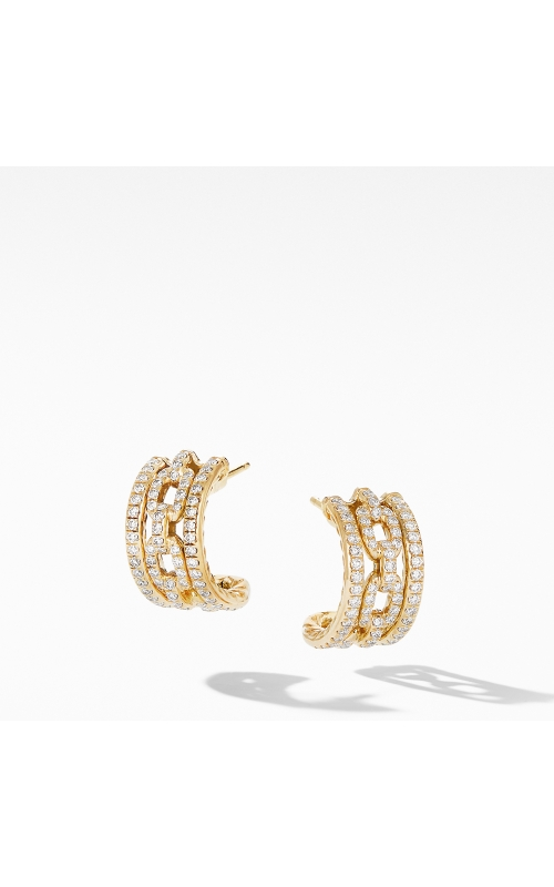 Stax Chain Link and Pavé Huggie Hoops in 18K Yellow Gold product image