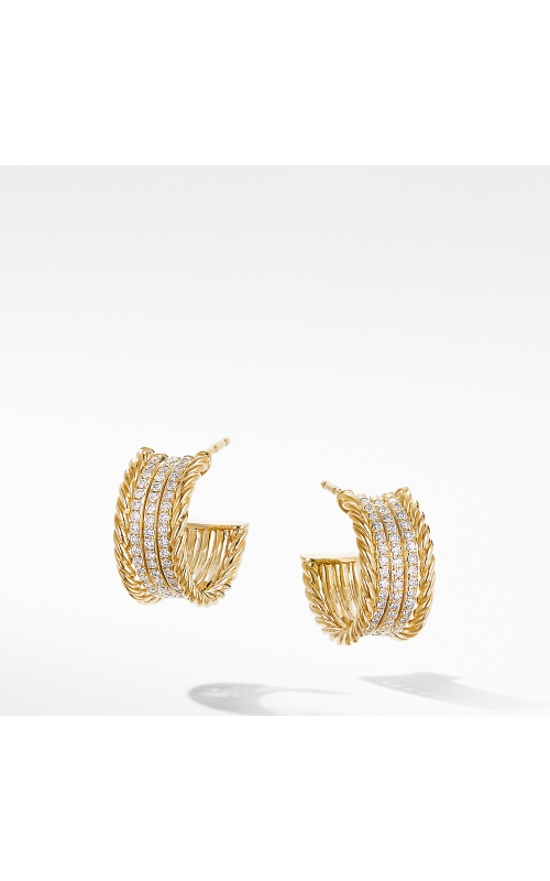 DY Origami Cable Huggie Hoops in 18K Yellow Gold with Diamonds product image
