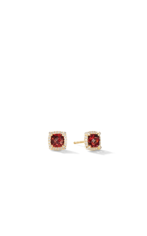 Petite Chatelaine® Pavé Bezel Stud Earrings in 18K Yellow Gold with Garnet product image