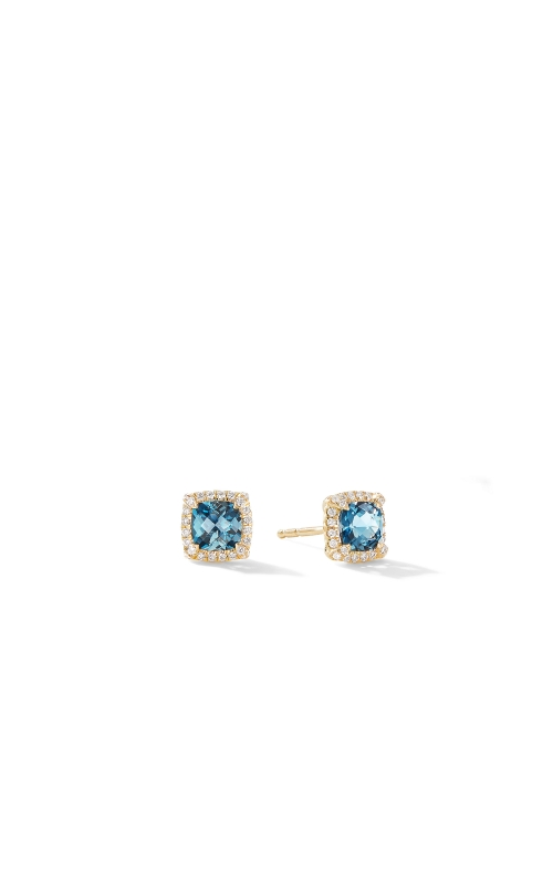 Petite Chatelaine® Pavé Bezel Stud Earrings in 18K Yellow Gold with Hampton Blue Topaz product image