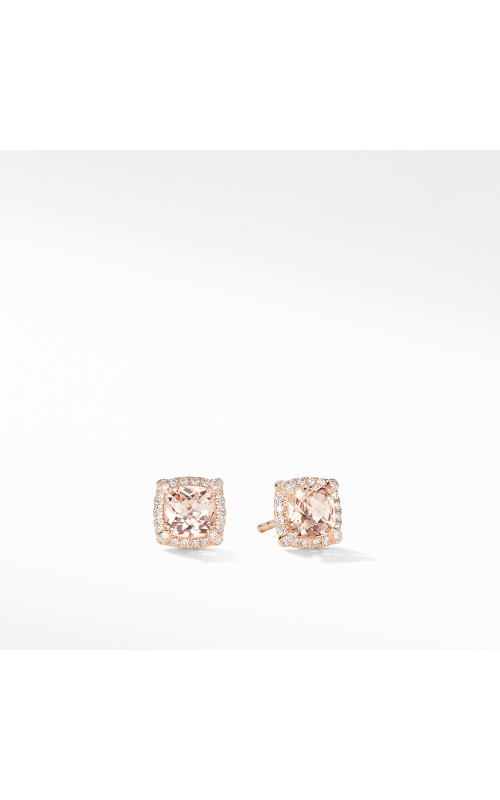 Petite Chatelaine® Pavé Bezel Stud Earrings in 18K Rose Gold with Morganite product image