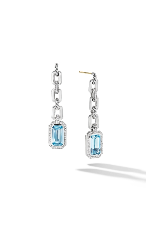 Novella Chain Link Drop Earrings with Blue Topaz and Pavé Diamonds product image
