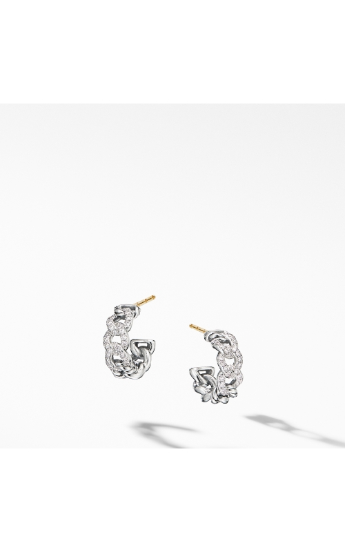 Belmont Curb Link Small Hoop Earrings with Pavé Diamonds product image