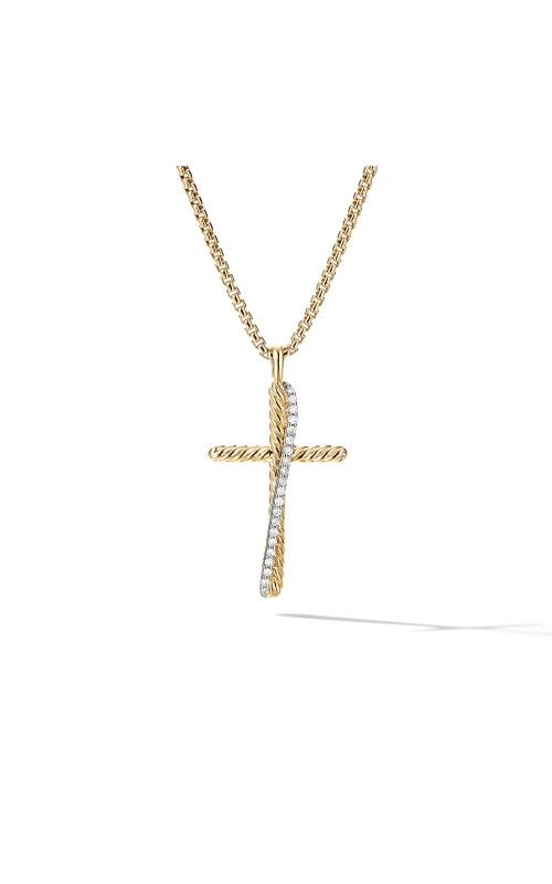 The Crossover Collection® Cross Necklace in 18K Yellow Gold with Pavé Diamonds product image