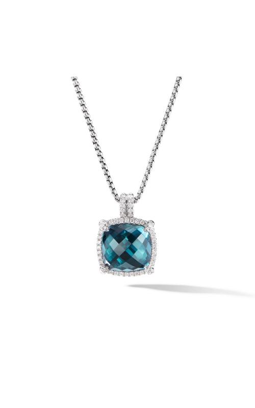 Chatelaine® Pavé Bezel Pendant Necklace with Hampton Blue Topaz product image