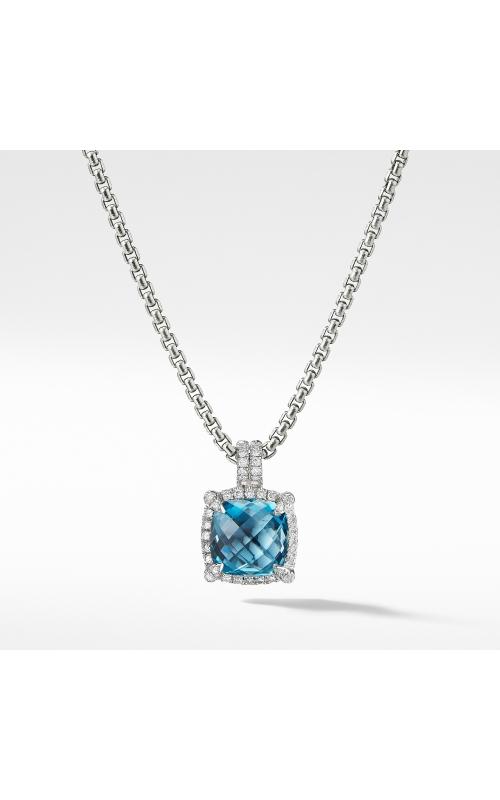 Chatelaine Pave Bezel Pendant Necklace with Hampton Blue Topaz and Diamonds, 9mm product image