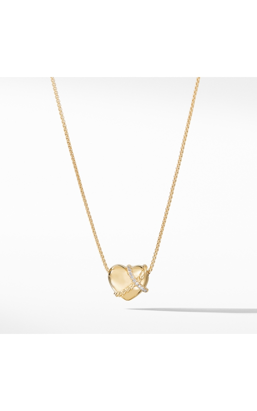 Le Petit Coeur Sculpted Heart Chain Necklace with Diamonds in 18K Gold product image