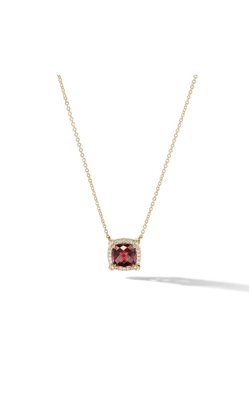 Petite Chatelaine® Pavé Bezel Pendant Necklace in 18K Yellow Gold with Garnet product image